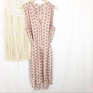 H&M Pink Black Boho Print Sleeveless Career Dress